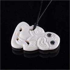 NZ Bone Tiki (Paua Eyes)-jewellery-Ula